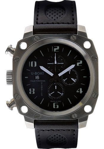 U-Boat Watches - Thousands Of Feet 50 Black Steel Brushed Chronograph - Style No: 1890