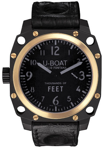 U-Boat Watches - Thousands Of Feet 43mm - Black Steel and Gold - Style No: 5328