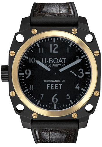 U-Boat Watches - Thousands Of Feet 50 Black Steel and Gold - Style No: 5388