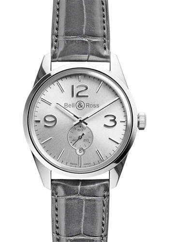 Bell & Ross Watches - Vintage BR 123 Automatic Officer - Style No: BRV 123 Officer Silver Alligator