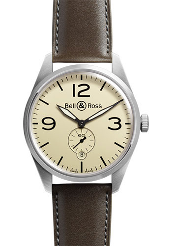 Bell & Ross Watches - Vintage BR 123 Automatic Original - Style No: BRV 123 Original Beige Calfskin