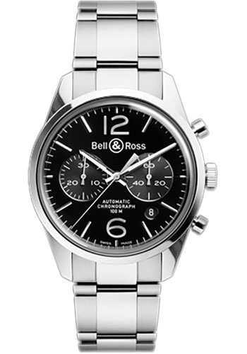 Bell & Ross Watches - Vintage BR 126 Chronograph Officer - Style No: BRV 126 Officer Black Stainless Steel Bracelet