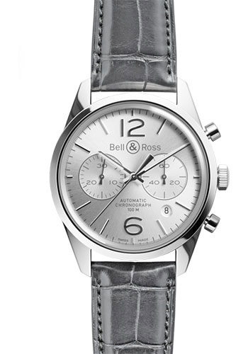 Bell & Ross Watches - Vintage BR 126 Chronograph Officer - Style No: BRV 126 Officer Silver Alligator