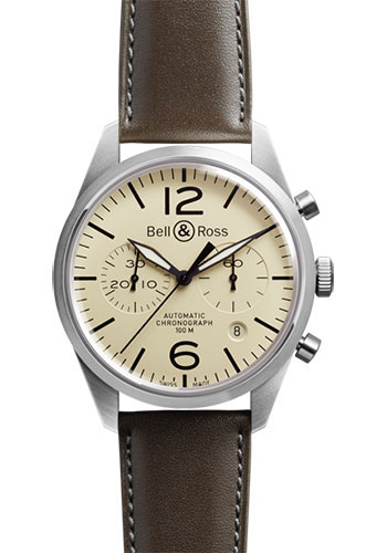 Bell & Ross Watches - Vintage BR 126 Chronograph Original - Style No: BRV 126 Original Beige Calfskin