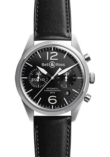 Bell & Ross Watches - Vintage BR 126 Chronograph Original - Style No: BRV 126 Original Black Calfskin