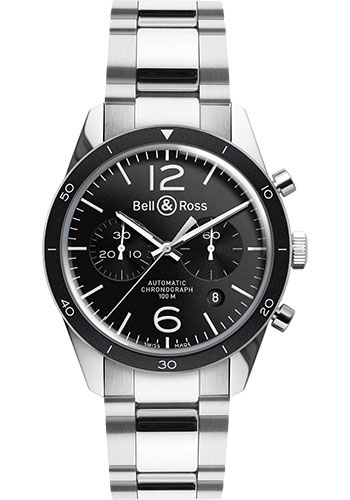 Bell & Ross Watches - Vintage BR 126 Chronograph Sport - Style No: BRV 126 Black Sport Stainless Steel Bracelet