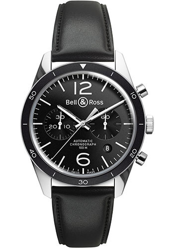 Bell & Ross Watches - Vintage BR 126 Chronograph Sport - Style No: BRV 126 Black Sport Calfskin
